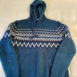 Old Navy Green Pattern Knit Sweater Men Medium